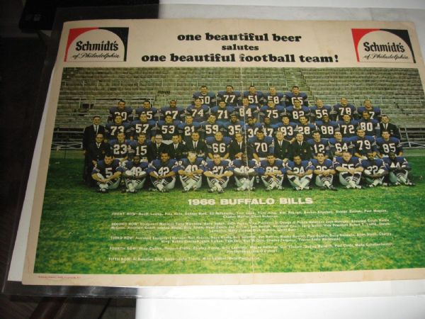 1966 Buffalo Bills (AFL) Large Size Color Team Panoramic Photo Sponsored by Schmidt's Beer