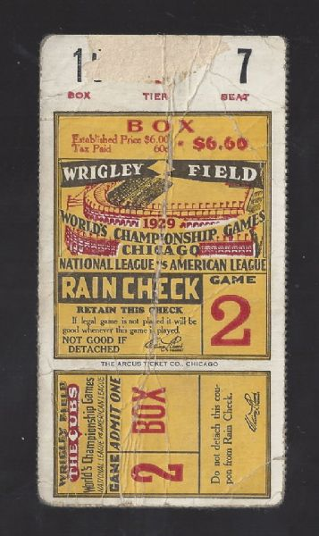 1929 World Series Ticket - Game # 2 - at Wrigley Field