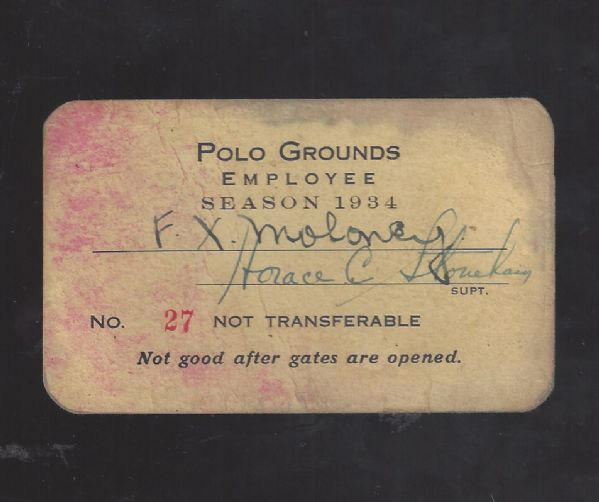 1934 Polo Grounds (NY Giants) Employee Season Pass - NFL Championship, Carl Hubbell