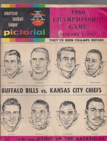 1966 AFL Championship (Buffalo Bills vs. KC Chiefs) Game Program