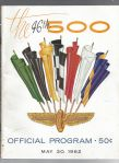1962 Indianapolis 500 Auto Racing Program