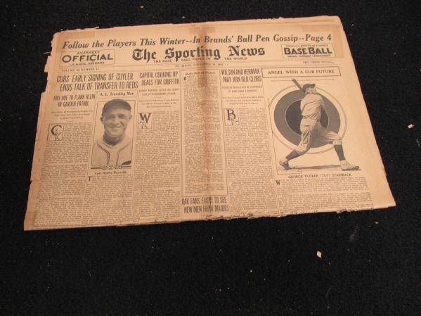 1933 Sporting News Partial Baseball Paper