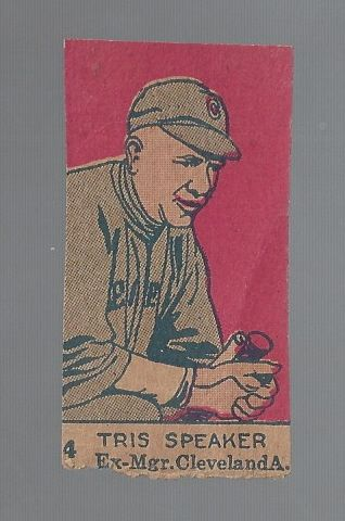 1920's Tris Speaker (HOF) Hand-Cut Baseball Strip Card