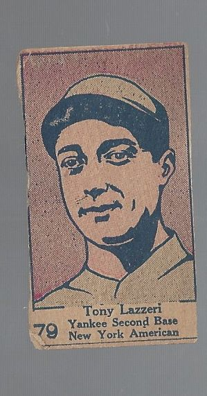 1920's Tony Lazzeri (HOF) Hand-Cut Baseball Strip Card