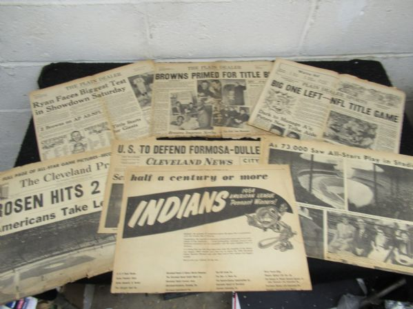 1954 - 1964 Cleveland Indians & Browns Newspaper Partial Papers & Clipping Lot