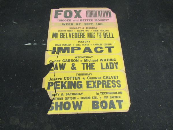 1950's Movie Theater Broadside - Large Size