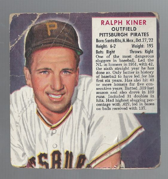 1953 Ralph Kiner (HOF) Red Man Tobacco Card Without Tab