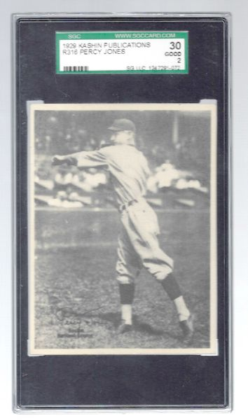 1929 Percy Jones Kashin Baseball Card - SGC Graded 2 Good