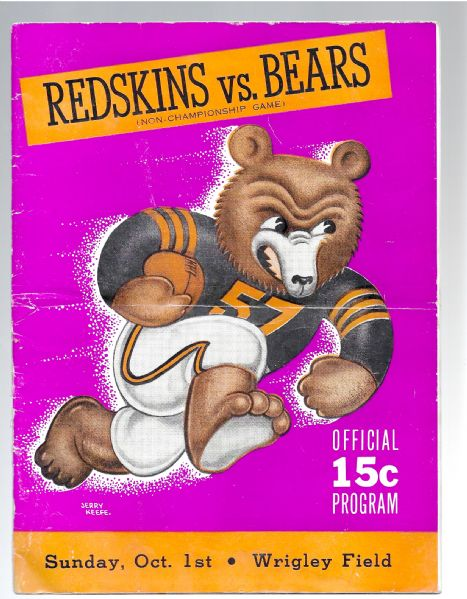 1944 Chicago Bears vs. Washington Redskins NFL Program at Wrigley Field