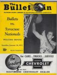1952 Baltimore Bullets (early NBA) vs. Syracuse Nationals Pro Basketball Program