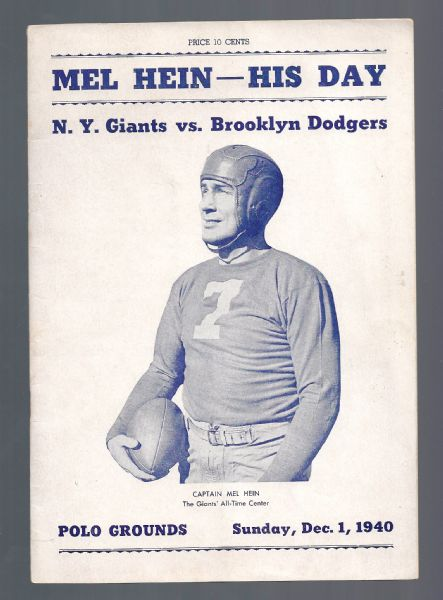 1940 NY (Football) Giants vs. Brooklyn Dodgers NFL Program - Mel Hein Day
