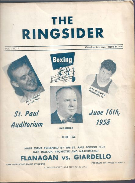 1958 Joey Giardello vs. Del Flanagan - Middleweight Fight - Boxing Program