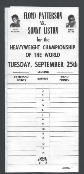 1962 Sonny Liston vs. Floyd Patterson - Heavyweight Championship - Fold Up Program