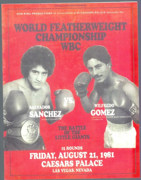 1981 World Featherweight Championship WBC - Sanchez vs. Gomez - Fight Program