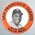 1965 Willie Mays (HOF) Large Size MVP Pinback Button