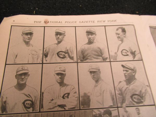 1919 Cincinnati Reds (Champions) and Detroit Tigers Police Gazette Supplemental Display Piece