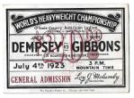 1923 Jack Dempsey vs. Tommy Gibbons World Heavyweight Championship Boxing Ticket
