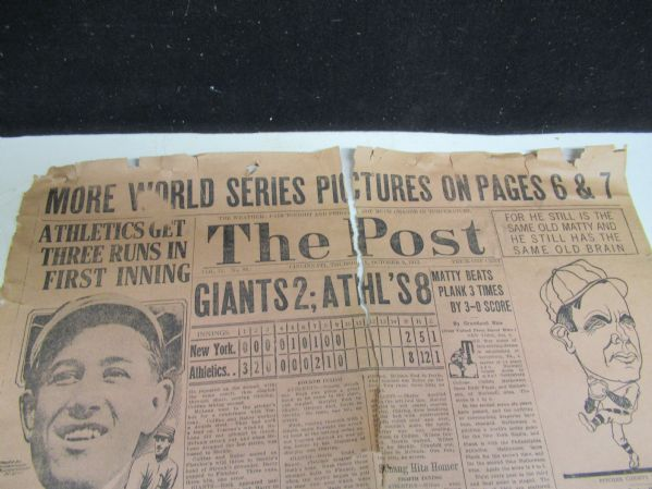 1913 World Series (Giants vs. Athletics) Cincinnati Post Paper - One Page Only