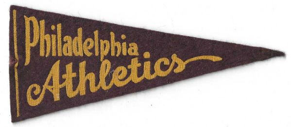 C. 1937 Philadelphia Athletics Small Size BF3 Plush Felt Pennant