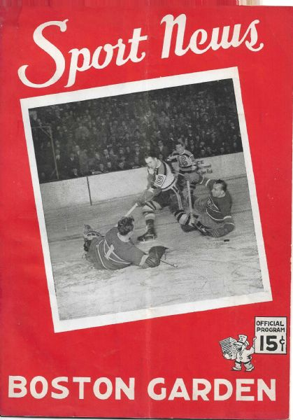 1942-43 Boston Bruins (NHL) Hockey Program