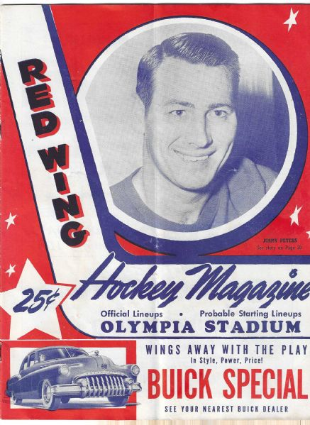 1949 - 50 Detroit Red Wings (NHL) vs. Montreal Canadiens Hockey Program