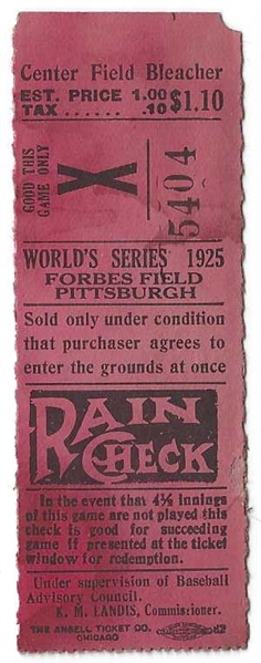 1925 World Series Ticket (Pittsburgh vs. Washington) at Forbes Field