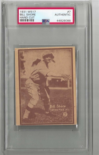 1931 Bill Shore (Philadelphia A's)) W517 PSA Graded Authentic Baseball Card
