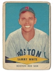 1954 Sammy White (Red Sox) Red Heart Baseball Card