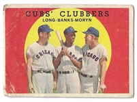 1959 Cubs Clubbers - Long, Banks & Moryn - Topps Baseball Card