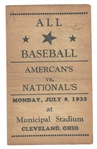 1935 MLB Generic All-Star Game Scorecard at Cleveland