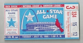 1966 MLB All-Star Game Ticket at St. Louis