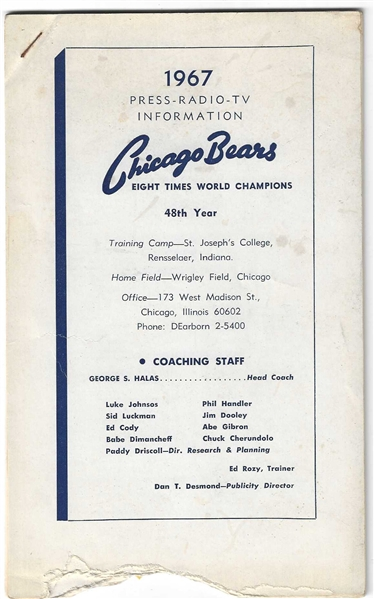 1967 Chicago Bears (NFL) Press * Radio * TV Information Guide