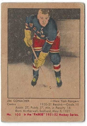 1951 Parkhurst Hockey Card - Jim Conacher (NY Rangers)