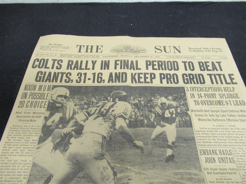 1959 Baltimore Sun Colts Rally In Final Period To Beat Giants, 31-16, And Keep Pro Grid Title