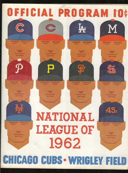 1962 Chicago Cubs vs. LA Dodgers Official Program  at Wrigley Field