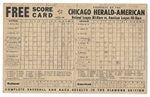 1950 MLB All-Star Game Generic Scorecard Issued by The Chicago Herald American