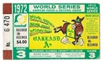 1972 World Series (Oakland As vs. Cincinnati Reds) Game #3 Ticket at Oakland