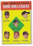 1963 Topps AL HR Leaders for 1962 Card - Maris, Killebrew, Colavito - Better Grade