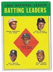 1963 Topps NL Batting Leaders for 1962 - Musial, F. Robinson, Aaron - Nice Card