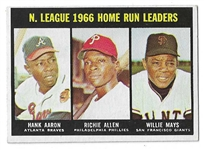 1967 NL HR Leaders for 1966 Card - Aaron, R. Allen, Mays - High Grade
