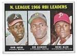 1967 NL RBI Leaders for 1966 Season -Aaron, Clemente, R. Allen - Topps Card - High Grade