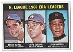 1967 NL ERA Leaders for 1966 Season - Koufax, Cuellar & Marichal - Topps Card - High Grade